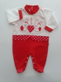 picture baby footie AMOUR bunnies. Colour red, size 6-9 months