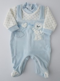 Image baby footie chenille baby bear and rainbow. Colour light blue, size 00