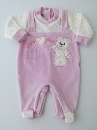 Image baby footie chenille baby bear and rainbow. Colour pink, size 00