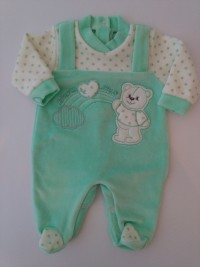 Image baby footie chenille baby bear and rainbow. Colour green, size 00