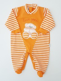 Picture baby footie love you stripes. Colour orange, size 0-1 month