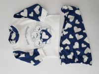 Baby footie cotton outfit bears company image. Colour blue, size 6-9 months