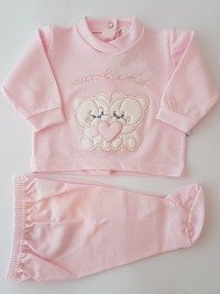 Picture baby footie outfit clinic piquè small friends. Colour pink, size 3-6 months
