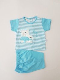 Picture baby footie cotton jersey outfit baby bears. Colour turquoise, size 6-9 months