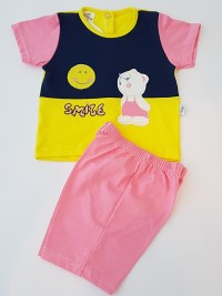 Baby footie image outfit cotton jersey sun smile. Colour coral pink, size 3-6 months