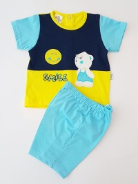 Baby footie image outfit cotton jersey sun smile. Colour turquoise, size 6-9 months