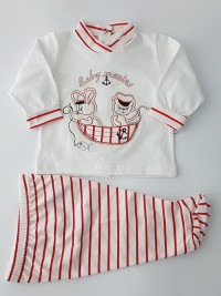 Image baby footie cotton outfit baby marins. Colour red, size 3-6 months