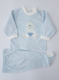 Baby footie image with ultra-soft cotton outfit. Colour light blue, size 3-6 months