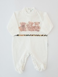 Image cotton baby footie jersey teddy bears teddy bears. Colour creamy white, size 0-1 month