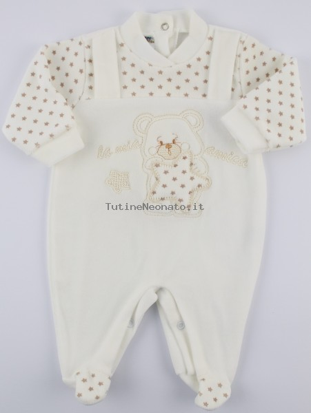 Picture baby footie chenille my star friend. Colour creamy white, size 0-1 month Creamy white Size 0-1 month