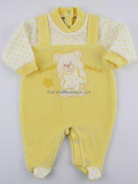 Picture baby footie chenille my star friend. Colour yellow, size 0-1 month Yellow Size 0-1 month