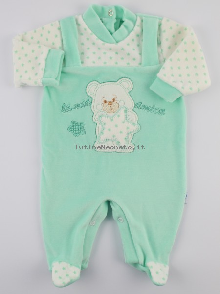 Picture baby footie chenille my star friend. Colour green, size 0-1 month Green Size 0-1 month