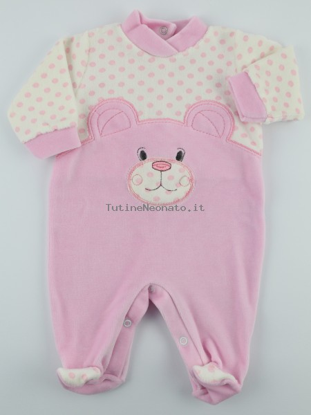 Chenille baby footie image l\'bear and polka dots. Colour pink, size 3-6 months