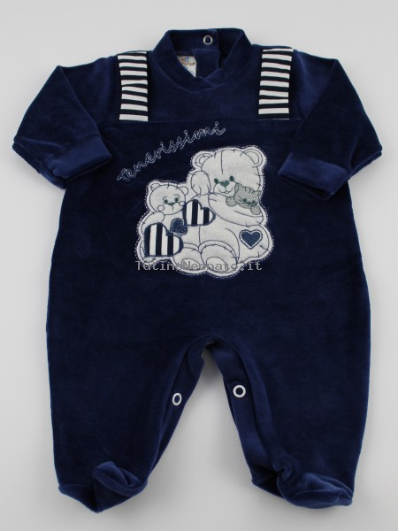 Baby image footie chenille cute puppies. Colour blue, size 6-9 months Blue Size 6-9 months