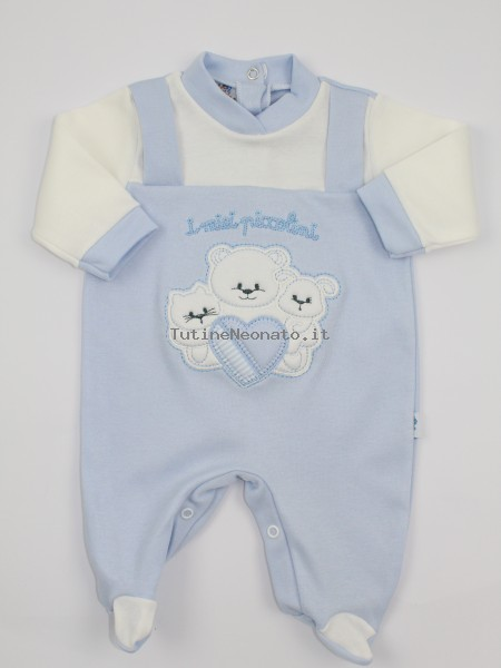 Image cotton baby footie interlock my little ones. Colour light blue, size 3-6 months Light blue Size 3-6 months