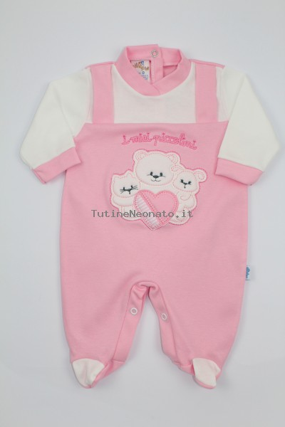 Image cotton baby footie interlock my little ones. Colour pink, size 0-1 month Pink Size 0-1 month