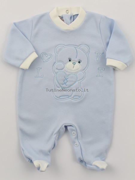 Image cotton baby footie interlock love heart. Colour light blue, size 6-9 months Light blue Size 6-9 months