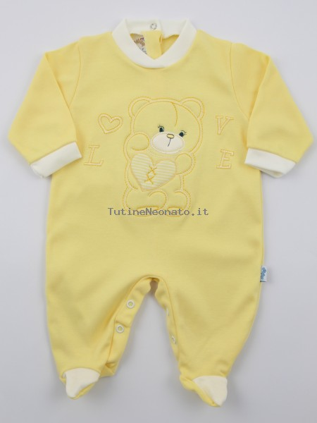 Image cotton baby footie interlock love heart. Colour yellow, size 3-6 months Yellow Size 3-6 months