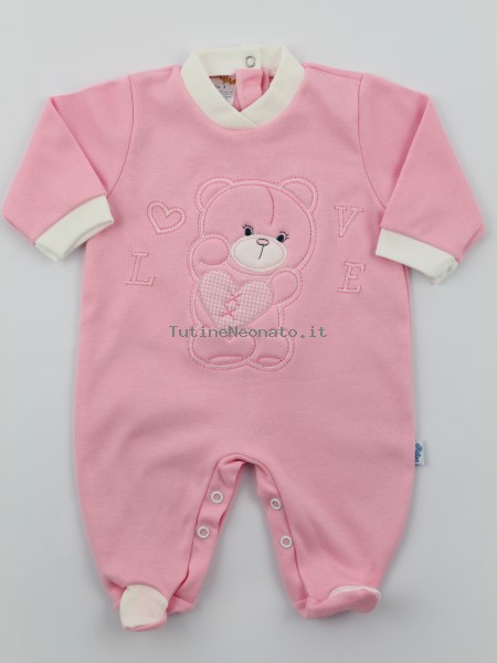 Image cotton baby footie interlock love heart. Colour pink, size 3-6 months Pink Size 3-6 months