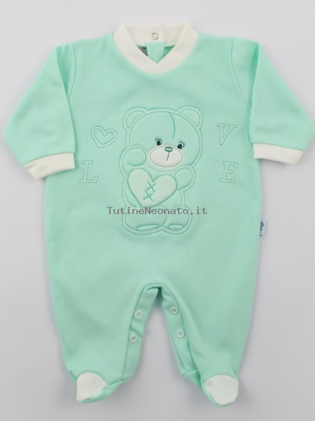 Image cotton baby footie interlock love heart. Colour green, size 9-12 months Green Size 9-12 months