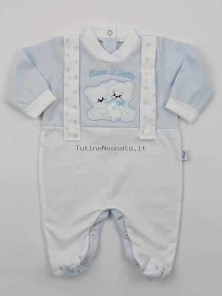 Picture jersey baby footie Drink milk. Colour light blue, size 1-3 months Light blue Size 1-3 months