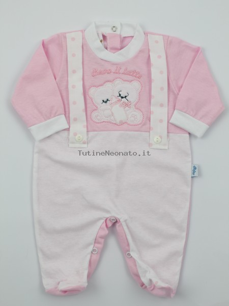 Picture jersey baby footie Drink milk. Colour pink, size 3-6 months