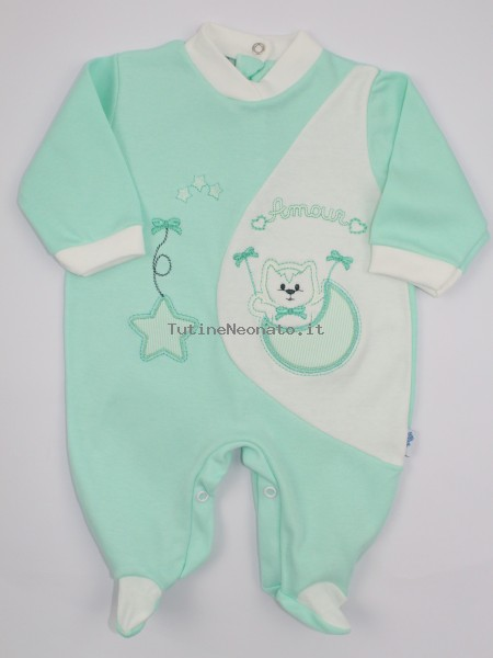 Image cotton baby footie interlock footie amour stars and moon. Colour green, size 1-3 months Green Size 1-3 months
