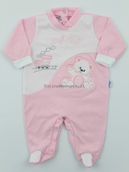 Baby footie jersey ciufciuf image. Colour pink, size 1-3 months Pink Size 1-3 months