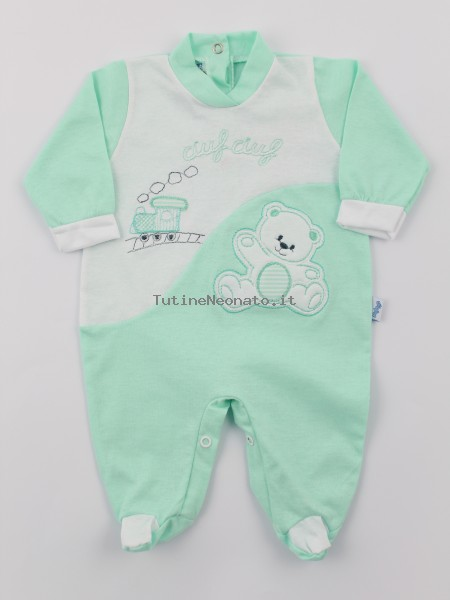 Baby footie jersey ciufciuf image. Colour green, size 3-6 months Green Size 3-6 months