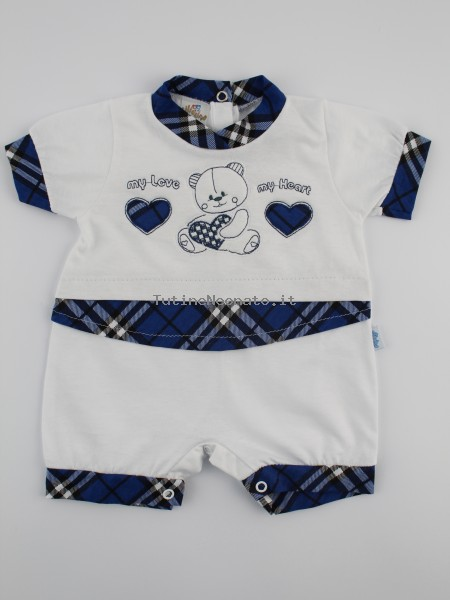 Baby image footie straw my love my heart. Colour blue, size 0-1 month Blue Size 0-1 month