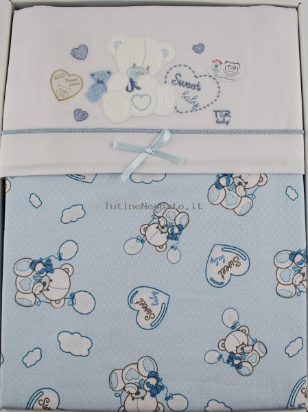 Picture accompanied sweet baby cotton bed. Colour light blue, one size Light blue One size