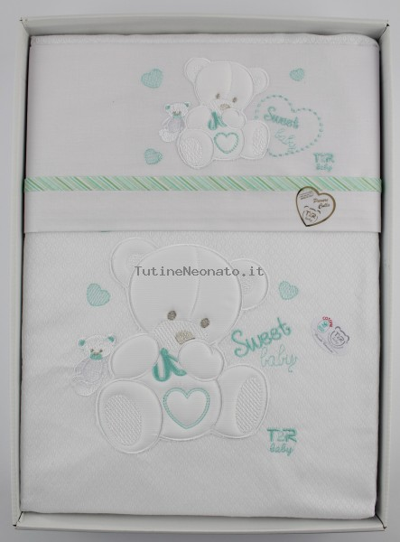 Picture with cradle in sweet cotton baby. Colour green, one size Green One size