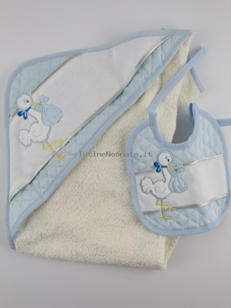 Picture cotton bathrobe layette. Colour light blue, one size