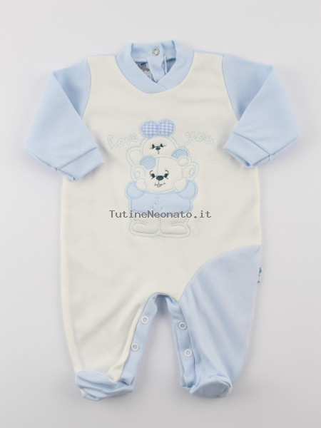 Baby footie interlock baby bear with bunny. Colour light blue, size 1-3 months