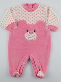 Chenille baby footie image l\'bear and polka dots. Colour coral pink, size 3-6 months