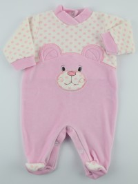 Chenille baby footie image l\'bear and polka dots. Colour pink, size 0-1 month
