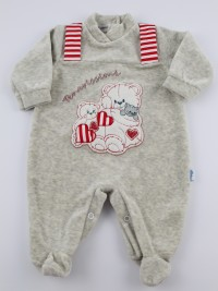 Baby image footie chenille cute puppies. Colour grey, size 3-6 months