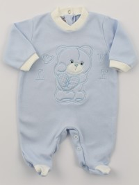 Image cotton baby footie interlock love heart. Colour light blue, size 9-12 months