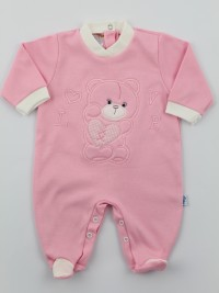 Image cotton baby footie interlock love heart. Colour pink, size 9-12 months