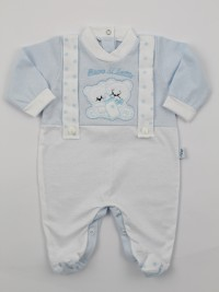 Picture jersey baby footie Drink milk. Colour light blue, size 3-6 months