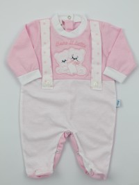 Picture jersey baby footie Drink milk. Colour pink, size 0-1 month