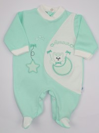 Image cotton baby footie interlock footie amour stars and moon. Colour green, size 0-1 month