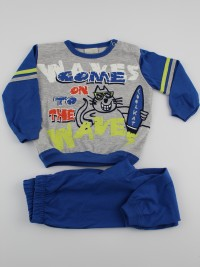 Picture baby footie pajamas jersey cat surfer cat. Colour blue, size 9-12 months