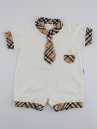 Picture baby footie straw necktie tie. Colour creamy white, size 0-1 month