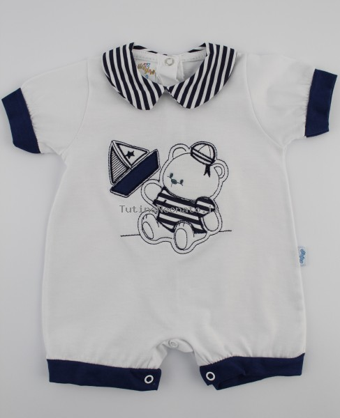Picture baby footie romper barchetta. Colour white, size 1-3 months White Size 1-3 months