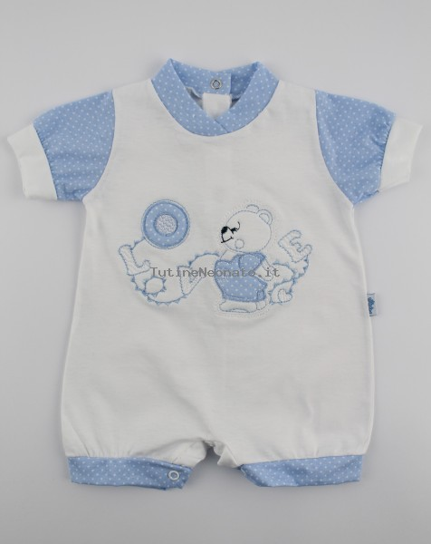 Picture baby footie straw lifebelt. Colour light blue, size 0-1 month Light blue Size 0-1 month