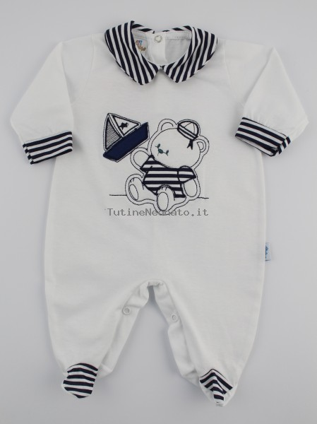 Baby footie jersey striped barchetta picture. Colour white, size 1-3 months White Size 1-3 months