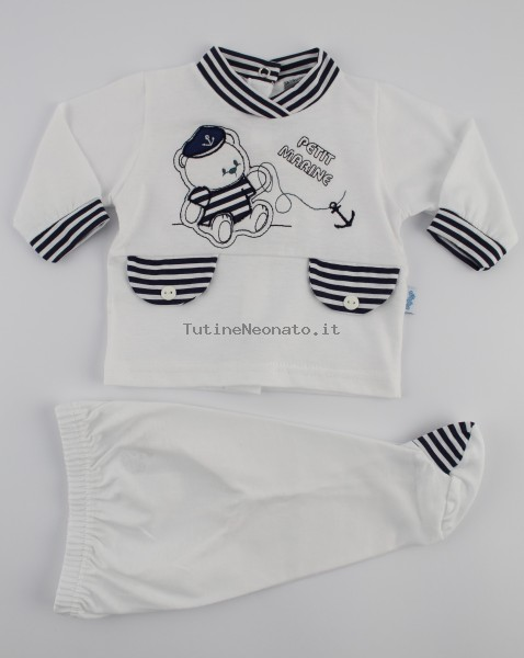 Picture baby footie outfit jersey bear petit marine. Colour white, size 1-3 months White Size 1-3 months