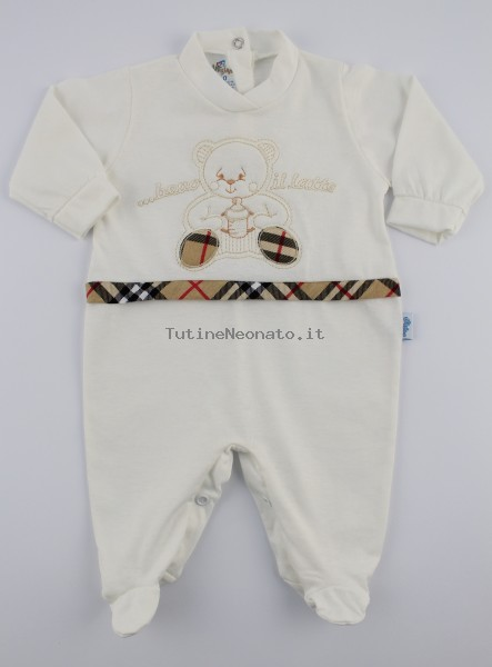Image Cotton Baby Jersey Footie I Drink The.... Colour creamy white, size 3-6 months Creamy white Size 3-6 months