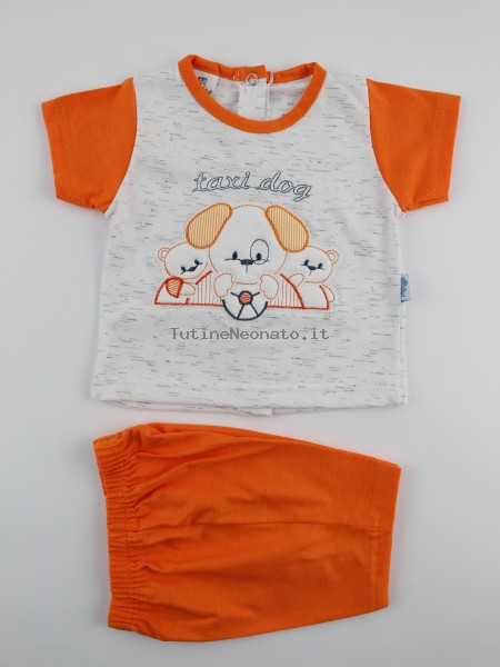 Picture baby footie outfit cotton jersey taxi dog. Colour orange, size 0-1 month Orange Size 0-1 month